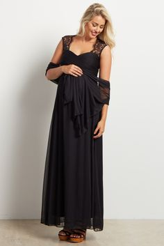 Black Lace Accent Chiffon Maternity Evening Gown 3bc45cb12