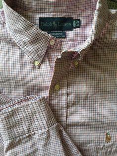 Men RALPH LAUREN Yarmouth White Pink Blue Plaid X-Large Shirt 17 1/2  34/35 #RalphLauren #ButtonFront