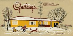 Mid-century Christmas card. Love the tree in the window!