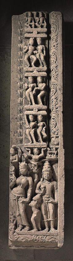 Doorjamb with River Goddess,9th century India: Uttar Pradesh or Madhya Pradesh, 800-899 Sandstone 43-3/4 x 10-1/4 x 5-1/2 in. (111.1 x 26.0 x 14.0 cm) The Norton Simon Foundation F.1972.11.5.S