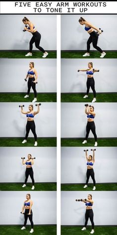 Arm workout routine for women. A great at home workout with weights to tone your arms. Easy Arm Workout, Home Weight Workout, Dumbbell Arm Workout, 30 Minute Workout, Easy Workouts, Fat Workout, Arm Workout For Beginners, Tone Arms Workout, Beginner Pilates