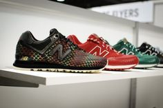 """New Balance 574 """"Year of the Snake"""" Pack. Set to release in 2013 to celebrate the Chinese Zodiac. As the name suggest, the 574 is dressed in partial snake-skin print along the toe and heel of the upper, with one model going full snake. Color options are currently limited to green, red, and black, though a gradient mixed model is also in the works. Look for the New Balance 574 """"Year of the Snake"""" pack to release in 2013."""