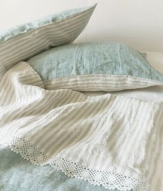 Lace linen DUVET SET in bluish green melange and natural striped linen - duvet cover, pillowcases - Twin Full Queen Cal King bedding Linen Sheets, Linen Duvet, Bed Sheets, Floral Comforter, Black Bed Linen, Striped Linen, Shabby, Linens And Lace, Duvet Sets