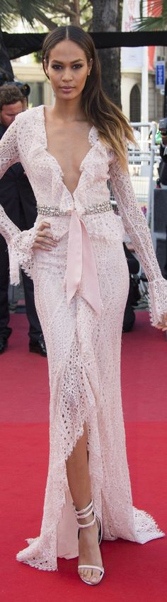 Joan Smalls in Emilio Pucci blush pink lace gown....2013 Cannes Film Festival♥✤ | Keep Smiling | BeStayBeautiful