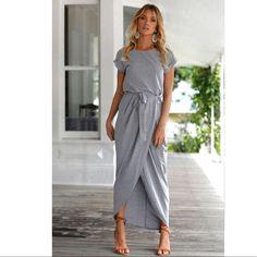 Belted Maxi Slit Dress