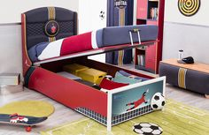 Concealed storage below for sports equipment, bedding & clothing