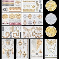 OOFAYZBL 10pcs Body Art Temporary LS Lace Lines Gold Silver Flash Metallic Tattoos Sticker Jewelry Waterproof * Continue to the product at the image link.