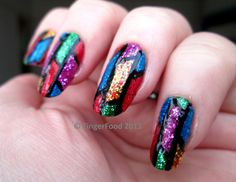 Glitter loaded stained glass nails.    http://fingerfoodnails.blogspot.co.uk  http://facebook.com/fingerfoodnail