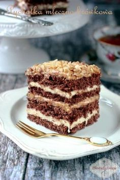 Pychotka krówkowo-mleczna / chocolate cake with milk-toffee cream Polish Desserts, Polish Recipes, Cookie Desserts, Sweet Desserts, Sweet Recipes, Delicious Desserts, Cake Recipes, Dessert Recipes, Just Cakes