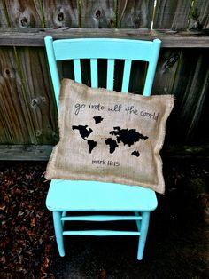 Burlap World Map Pillow