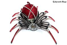 Steampunk - Sculpture - Velvet Pin Cushion Spider by CatherinetteRings.deviantart.com on @deviantART