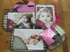 mini photo wallet small journal black pink flowers polka dots stripes punk scrap embellishments unique chic gift paper card embossed OOAK