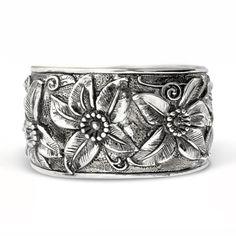 metal flower cuff bracelet