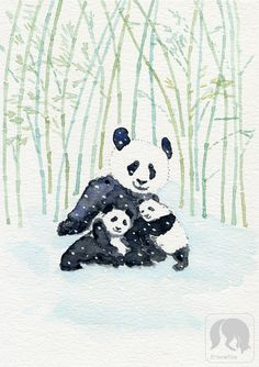 Twins Playing in the Snow, Pandas, Animal and Nature Artwork https://www.etsy.com/listing/521055326/twins-playing-in-the-snow-pandas-animal?ref=shop_home_active_8