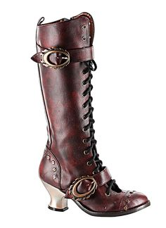 Here is a Steampunk influenced knee high boot with retro style lacing. - The heel is 2.5 inches - The crepe welt design with a metal heel, strew rivets embellishments and flame shaped buckles - Easy a
