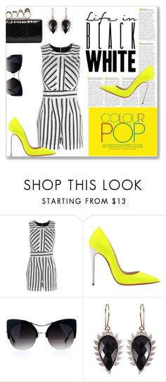 """Color me yellow"" by closet-freak ❤ liked on Polyvore featuring Boohoo, Christian Louboutin, Meghna Jewels, Alexander McQueen and blackandwhite"