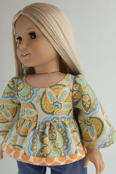 "Ruffled 70s Style Tunic American Girl Doll Shirt 18 Inch Star Paisley Top in Amy Butler for 18"" Dolls"