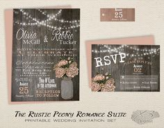 Printable Wedding Invitation Suite  String Lights w/ by X3designs