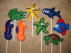 1 chocolate multicolor under the sea star fish lollipops lollipop   sapphirechocolates - Edibles on ArtFire