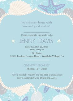 Beach Shell Bridal Shower Invitation by PurpleTrail.com