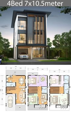 House design plan with 4 bedrooms House design plan with 4 bedrooms. Style ModernHouse description:Number of floors 3 storey housebedroom 4 roomstoilet 4 roomsmaid's room Narrow House Plans, Modern House Floor Plans, Duplex House Plans, House Layout Plans, Duplex House Design, House Front Design, House Layouts, Modern House Design, 4 Bedroom House Designs