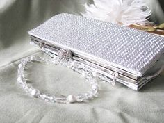 Rich Silver Satin Fabric Wedding Bag Clutch by weddingswithflair, $60.00