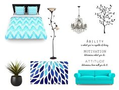 """""""Blue Room"""" by horses4ever1322 on Polyvore featuring Joybird Furniture, CB2, nuLOOM and Swarovski"""