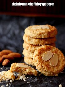 It has ground almond and Nestum inside the cookies making the cookies fragrant, crunchy and flavourful. And it is laden with wholesome goodness. Cookie Desserts, Sweet Desserts, Sweet Recipes, Cookie Recipes, Dessert Recipes, Healthy Recipes, Cheese Cookies, Biscuit Cookies, Biscuit Recipe