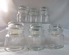 Vintage Apothecary Drug Store Condiment Clear Glass Candle Jar with Lid Lot 6