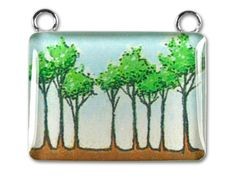 Sterling/Resin 22x25.5mm Pendant - Blue Sky Tree Grove