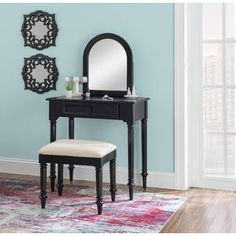 George Oliver Proto Vanity with Mirror & Reviews   Wayfair Living Room And Bedroom Combo, Decorative Mouldings, Decorative Items, Powell Furniture, Vanity Set With Mirror, Vanity Stool, Standing Mirror, Raised Panel, Room Decor