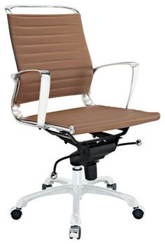 Modway Tempo Mid Back Office Chair In Tan Contemporary Task Chairs