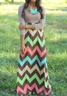 Multicolor Striped Patchwork Long Sleeve U-neck Maxi Dress #Fall #Maxi_Dresses #Dresses #Outfit #Ideas