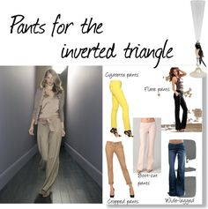 """""""Pants for the inverted triangle body shape"""" by gennyc on Polyvore"""