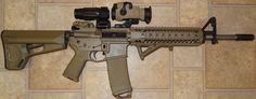 Spikes Tactical FDE with Aimpoint Comp and Magnifier on Larue and Mounts Tactical Rifles, Firearms, Ar 15 Builds, Tactical Equipment, Fire Powers, Tool Sheds, Assault Rifle, Guns And Ammo, Shotgun