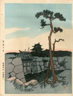 竹久夢二版画「荒城の月」/Yumeji Takehisa
