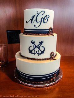 Nautical Cake Nautical Wedding Cakes, Nautical Cake, Beach Wedding Centerpieces, Nautical Party, Sea Cakes, Pink Cakes, Sailor Wedding, Marine Cake, Boat Cake