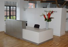 Our bespoke manufacturers will make reception desks to an architectural design. We make beautiful reception counters from virtually any material including stone, metals, solid surface materials like Corian and Hi Macs, laminate and natural veneers. Small Reception Desk, Reception Desk Design, Reception Furniture, Reception Counter, Office Furniture, Autocad, Ikea, Medical Office Design, Space Interiors