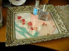 Lovely to do with old napkins and picture frame...beautiful as tray