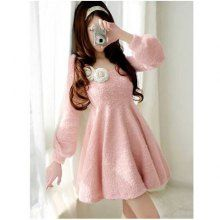 Sweety and Charming Round Neckline White Stereo Flower Decorated Waisted Frills Pink Long Sleeves Ployester+Woolen Yarn Dress For Women