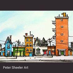 Urban Landscape miniature work, Sold on auction… Landscape Drawings, City Landscape, Urban Landscape, Art Drawings, Pen And Watercolor, Watercolor Landscape, Watercolor Paintings, Watercolors, Peter Sheeler