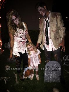 Cool Zombie Family Costumes  sc 1 st  Pinterest & Coolest Homemade Married Zombie Couple Costume | Homemade Costumes ...