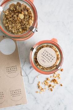 Coconut Almond Granola recipe with printable tags / seeandsavour.com