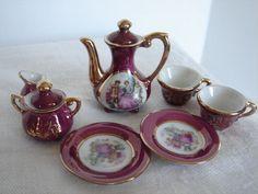 Toy Tea Set Miniature Mini 9 Pieces Tea Pot, Cups, Plates, Creamer, Sugar Bowl #Unbranded