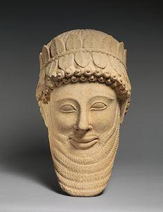 Limestone head of a man Archaic,early 5th cent. BC Cypriot llimestone Metropolitan Museum