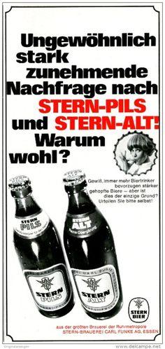 Original-Werbung/ Anzeige 1968 - STERN BIER / PILS / ALT - ca. 115 x 240 mm