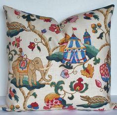 Decorative pillow cover - 26 x 26 - SUZANI - Euro sham - throw pillow - monkey pillow -  circus - elephant pillow - teal - blue - red - pink. $56.00, via Etsy.