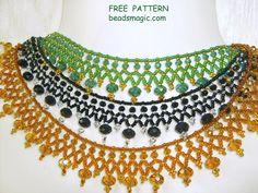 Free pattern for necklace Milano U need: seed beads 11/0 crystal rondelle 4x6 mm crystal