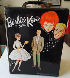 1965 BARBIE & KEN Black VINYL DOLL CASE MATTEL Closet Wardrobe