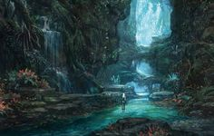 Concept art, jungle, girl, waterfall, river, flowers, trees